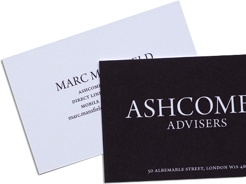 business card designs for Ashcombe Advisers